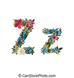 Beautiful floral alphabet with flowers - Z letter Flower...