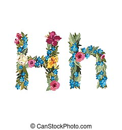 Beautiful floral alphabet with flowers - H letter Flower...