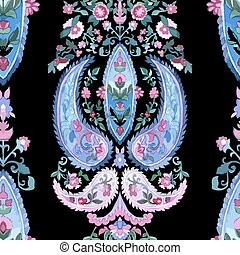 Watercolor Paisley Seamless Background. Cold Colors. Indian,...