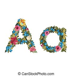Beautiful floral alphabet with flowers - A letter Flower...