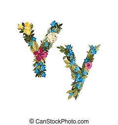Beautiful floral alphabet with flowers. - Y letter. Flower...