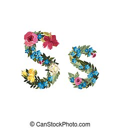 Beautiful floral alphabet with flowers - S letter Flower...