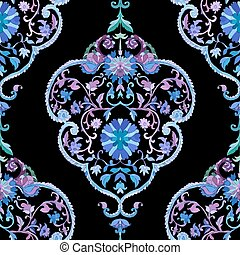 Watercolor Paisley Seamless Background Cold Colors Indian,...