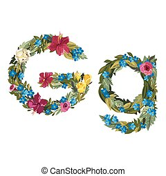 Beautiful floral alphabet with flowers. - G letter. Flower...