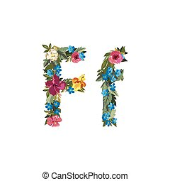 Beautiful floral alphabet with flowers. - F letter. Flower...