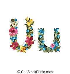Beautiful floral alphabet with flowers. - U letter. Flower...