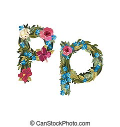 Beautiful floral alphabet with flowers - P letter Flower...