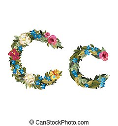 Beautiful floral alphabet with flowers. - C letter. Flower...
