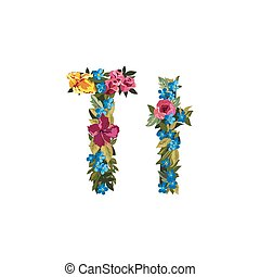 Beautiful floral alphabet with flowers. - T letter. Flower...