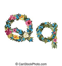 Beautiful floral alphabet with flowers. - Q letter. Flower...