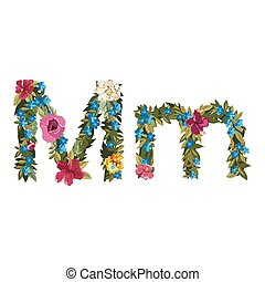 Beautiful floral alphabet with flowers. - M letter. Flower...
