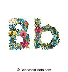 Beautiful floral alphabet with flowers - B letter Flower...