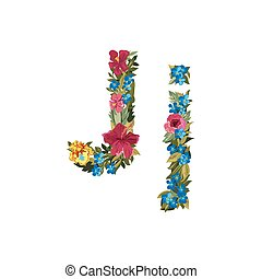 Beautiful floral alphabet with flowers. - J letter. Flower...