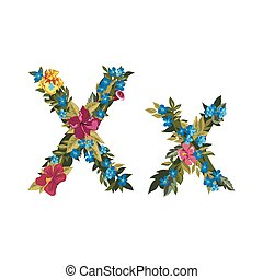 Beautiful floral alphabet with flowers - X letter Flower...