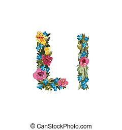 Beautiful floral alphabet with flowers - L letter Flower...
