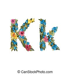 Beautiful floral alphabet with flowers. - K letter. Flower...