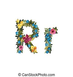 Beautiful floral alphabet with flowers. - R letter. Flower...