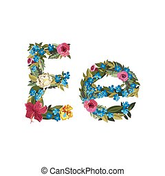 Beautiful floral alphabet with flowers - E letter Flower...