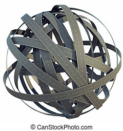 Abstract sphere of tangled roads, isolated on white background. 3d illustration