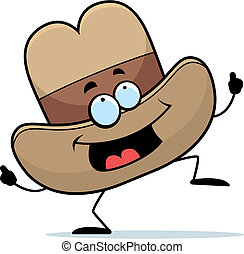 Cowboy Hat Dancing - A happy cartoon cowboy hat dancing and...