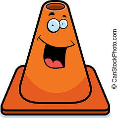Traffic Cone Smiling - A cartoon orange traffic cone happy...