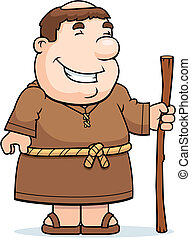 Friar Smiling - A happy cartoon friar standing and smiling