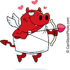 Devil Cupid - A happy cartoon cupid devil with a bow and...