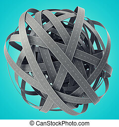 Sphere of tangled roads, on cyan background. 3d illustration