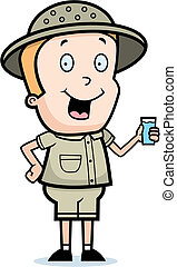 Explorer Drink - A happy cartoon explorer with a glass of...
