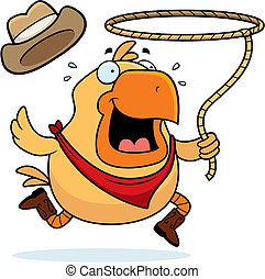 Rodeo Chicken - A happy cartoon rodeo chicken with a lasso.