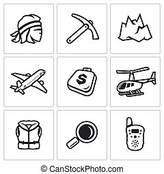 Vector Set of Mountain rescue Icons - Specialist, equipment...