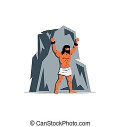 Prometheus on rock. In Greek mythology, titan, defender of...