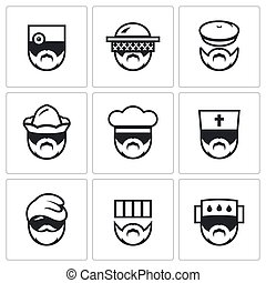 Vector Set of Profession People Icons Doctor, Beekeeper,...