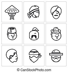 Vector Set of People Nation Icons. Chinese, Thai, Indian, Turk, Ukrainian, Italian, American, African, Jew.