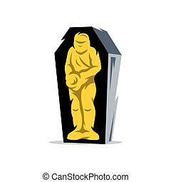 Vector Gold Mummy Cartoon Illustration. - Mummified man in a...