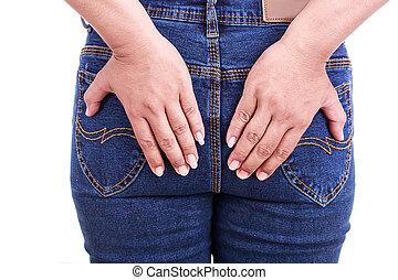 concept, arrière, femme, main, tenue,  :, hémorroïdes