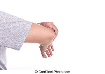 Close up woman's hand holding her elbow isolated on white....