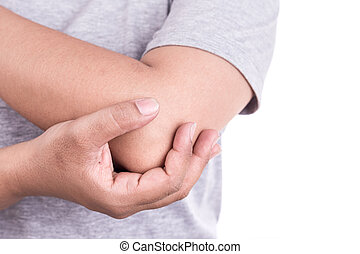 Close up womans hand holding her elbow isolated on white...