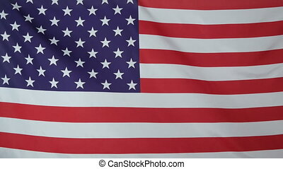 USA Flag real fabric close up - Textile flag of USA with...