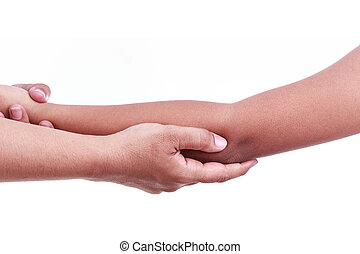Woman's hand holding children's elbow. Elbow pain concept -...