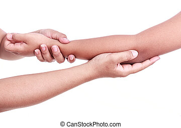 Womans hand holding childrens elbow Elbow pain concept -...