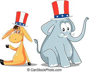 Democrat Donkey and Republican Elephant Vector Election Cartoon.eps