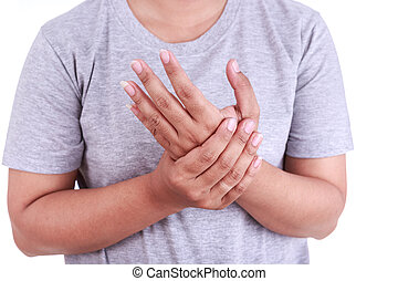 Close up woman's holding her hand isolated on white. Hand...