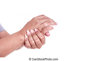 Close up womans holding her hand isolated on white Hand pain...
