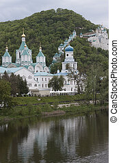 Church Svyatogorsk Lavra Cloudy day in May