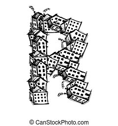 Letter R made from houses, vector alphabet design