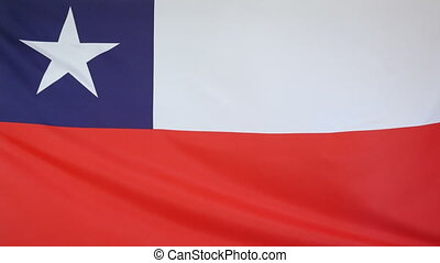 Chile Flag real fabric close up - Textile flag of Chile with...