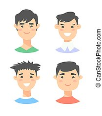 Set of young asian male characters