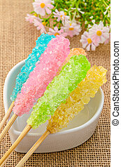 Many colorful sugar crystal candy. - Many colorful sugar...