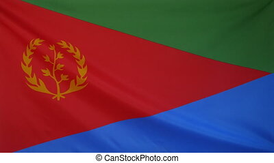 Eritrea Flag real fabric close up - Textile flag of Eritrea...